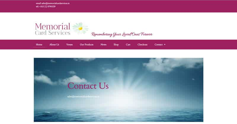 Memorial Card Services Site